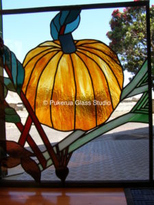 Stained glass depicting vegetables