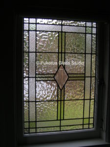 Bathroom window using clear obscure glass