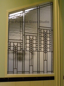 Stained glass window in stairwell