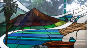 Stained glass representation of Mt Taranaki