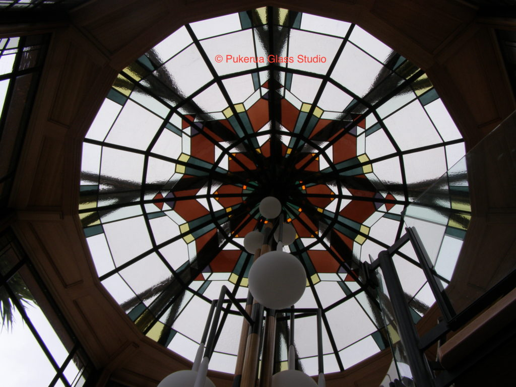 Octagonal dome with stained glass