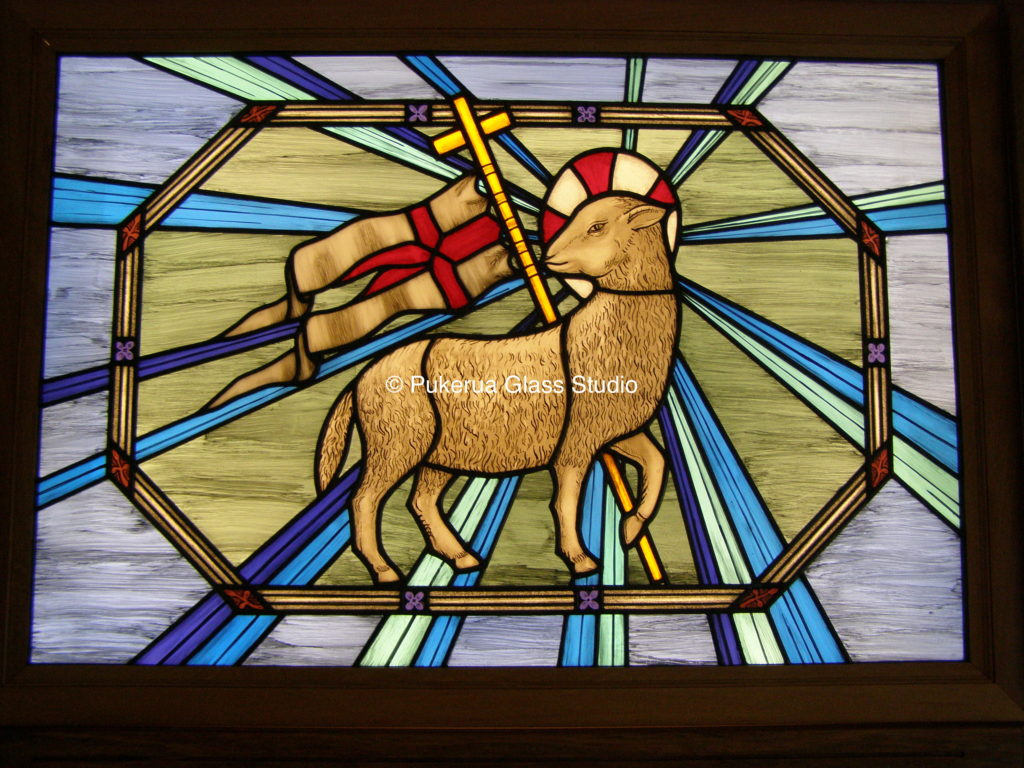 Religious stained glass panel