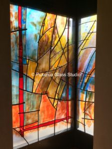 Chapel window with kiln fired colours