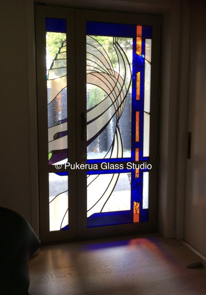 Stained glass door and sidelight